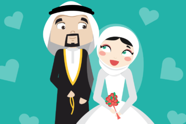 illustration of a married Muslim couple based on the characters of et3arraf- الزواج بين رجل ومرأة